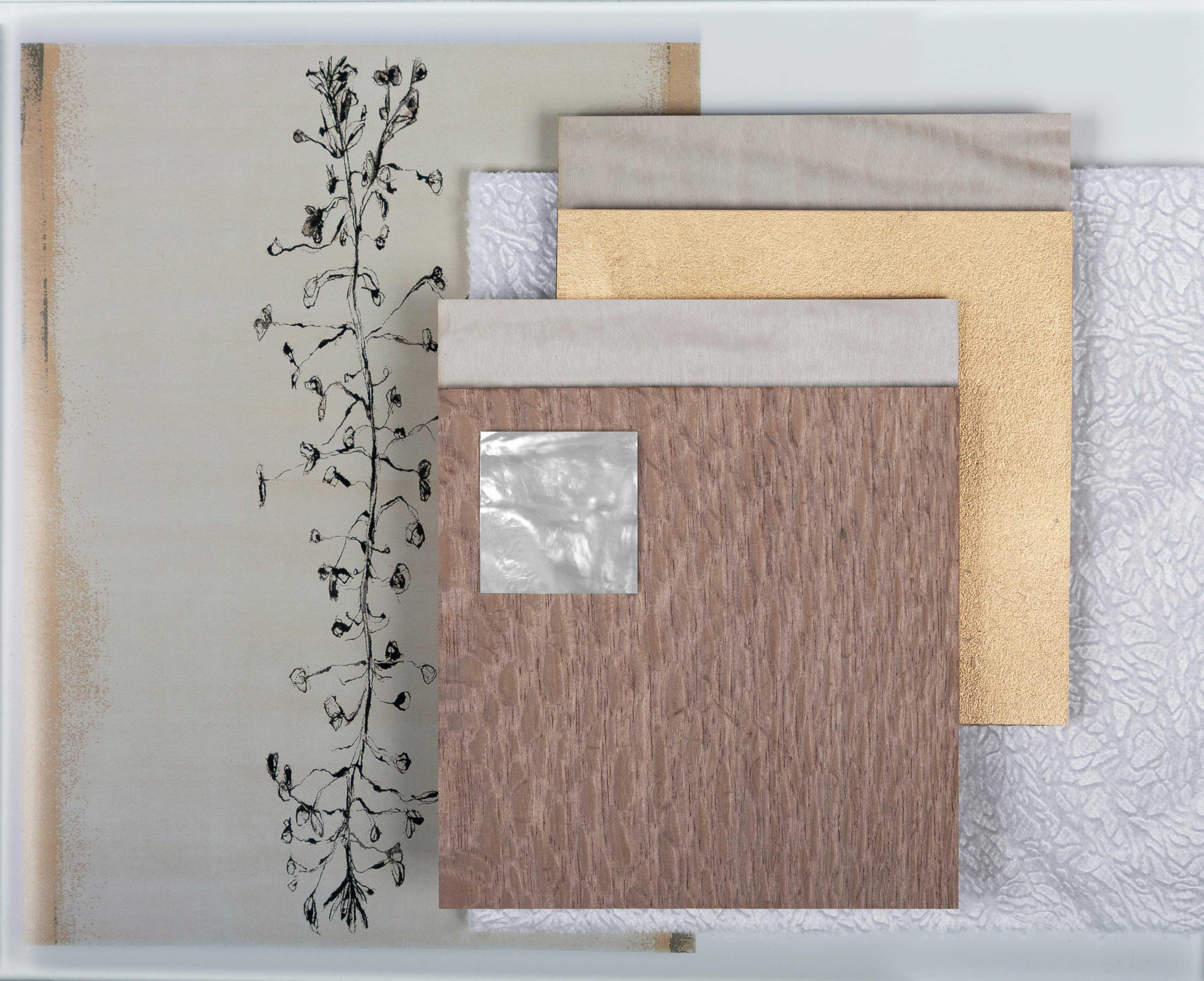 moodboard mother of pearl gold lace