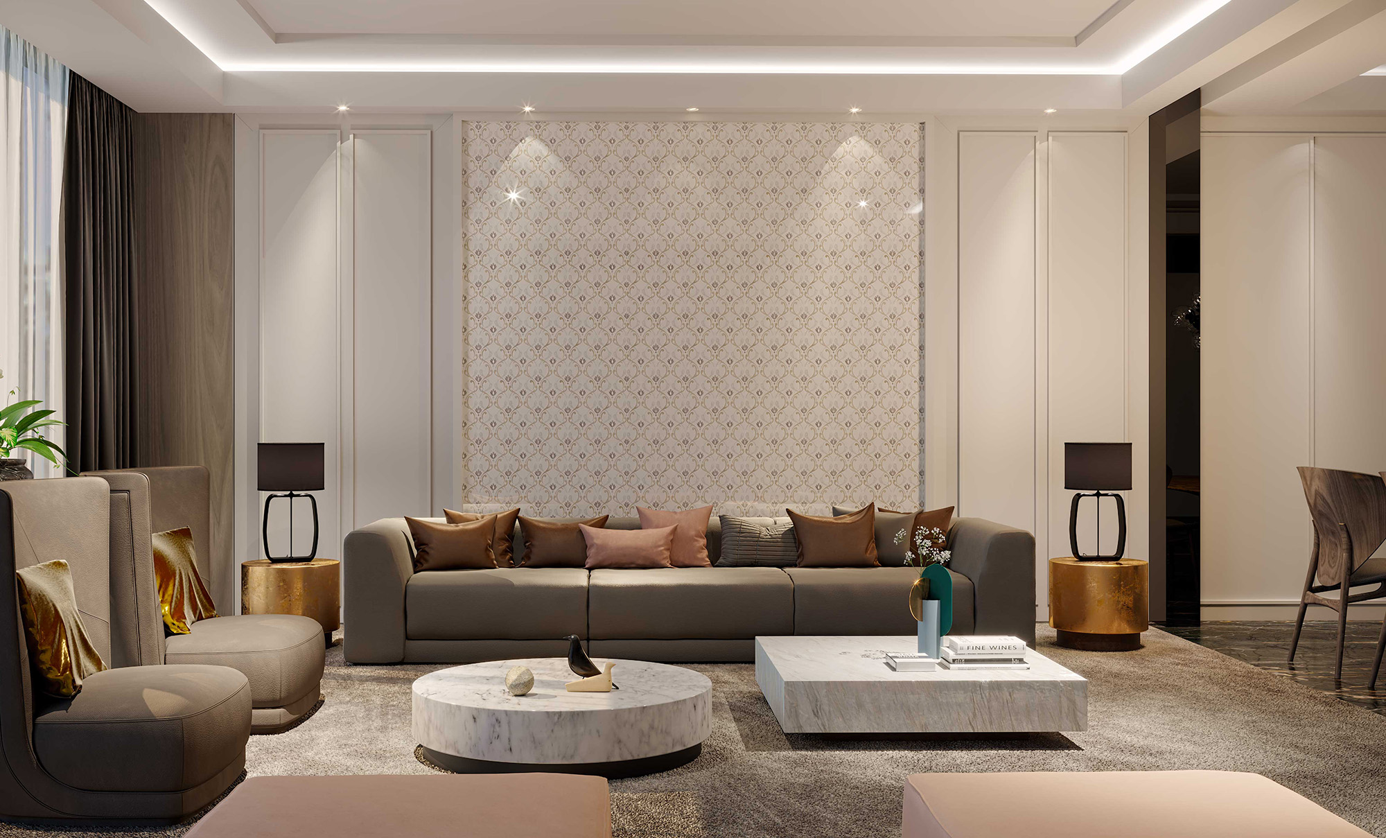 Luxurious livingroom marquetery gold mother of pearl
