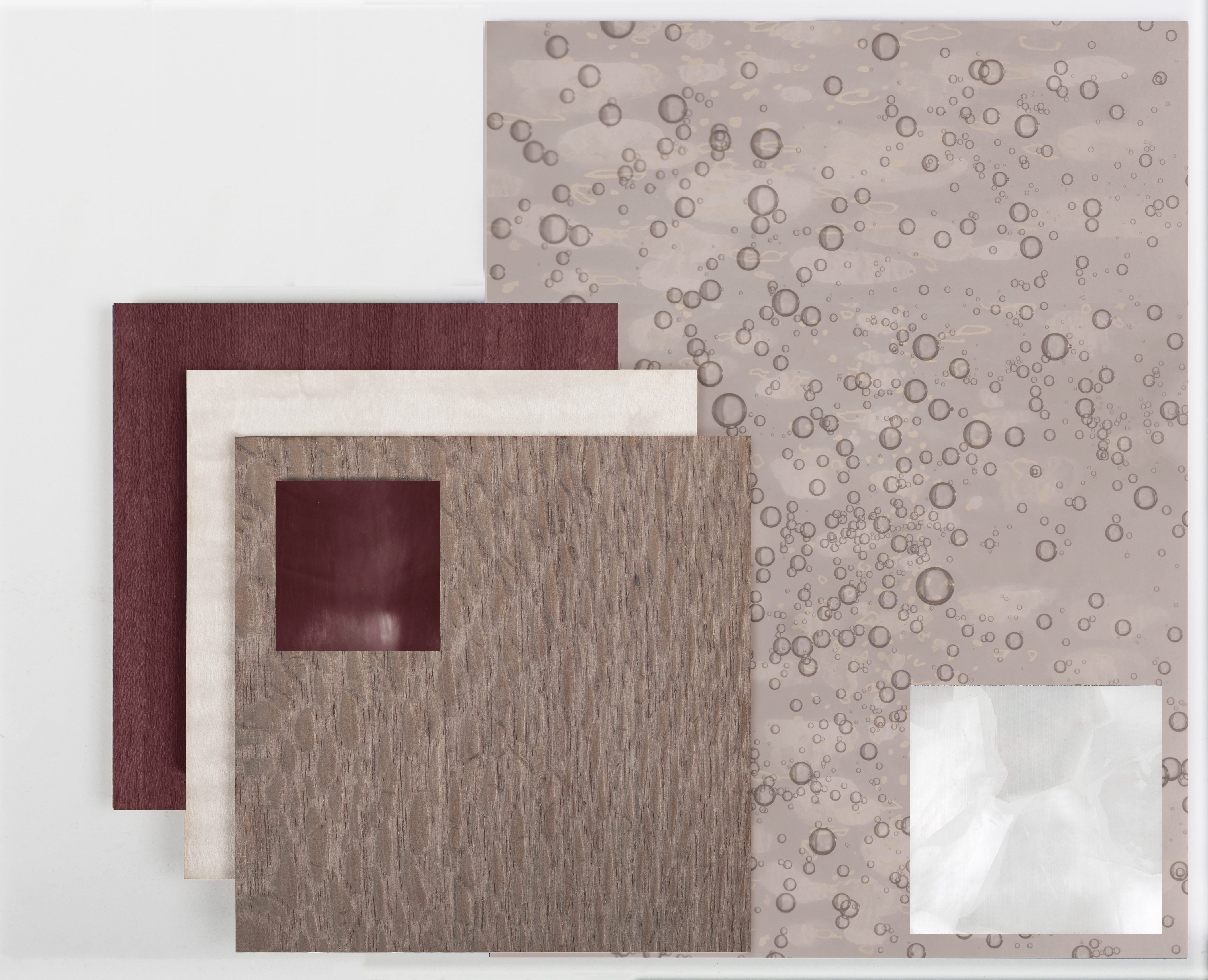 moodboard mother of pearl champagne bubbles superyacht marquetry